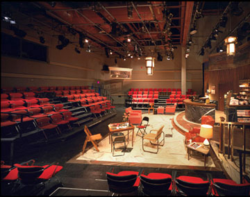 Photo of Laboratory theater with set for HOT L Baltimore